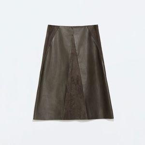 Zara Green Olive Khaki Faux Leather & Suede Skirt